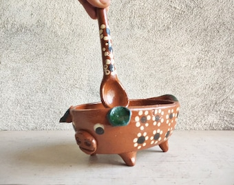 Vintage Small Bowl and Spoon Mexican Pottery Pig Lover Gift, Sugar Bowl, Pig Decor, Terra Cotta Serving Utensil Kitchen Southwestern Decor