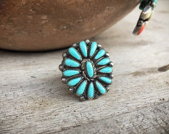Vintage Turquoise Ring for Women Size 6.25 Petit Point Cluster Native American Ring Indian Jewery Zuni