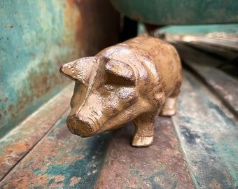 Small Cast Iron Door Stop Brown Pig Paperweight, Hog Gifts, Farm Animal Gift Babe, Farmhouse Decor