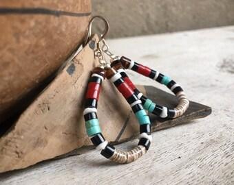 Turquoise Coral Hoop Earrings Multi Stone Heishi, Southwest Jewelry, Native American Indian Jewelry Santo Domingo