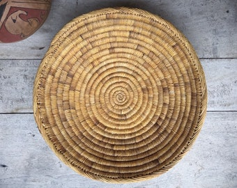 Shallow Woven Basket, Bohemian Decor, Southwestern Decor Native American Coiled Basket