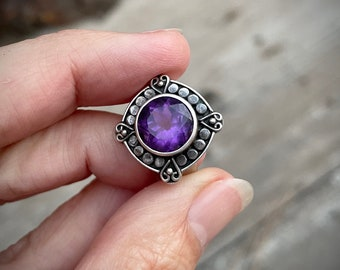 Vintage 925 Sterling Silver Ring Manmade Amethyst or Alexandrite Gemstone Size 6, Cocktail Jewelry