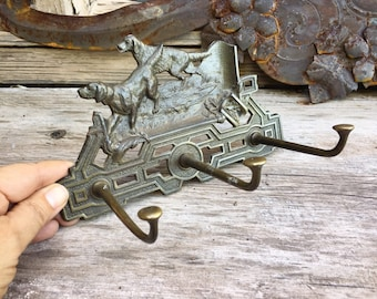 Arts and Crafts Era Brass Hall Tree Hook with Hunting Dog Decor, Architectural Salvage