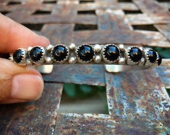 Heavy Sterling Silver Row Bracelet of Black Onyx, Navajo Native American Indian Jewelry