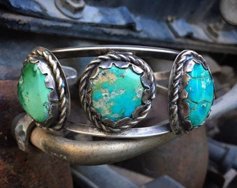 Antique Turquoise and Silver Bracelet for Women or Men, Navajo Native American Indian Jewelry, Old Pawn