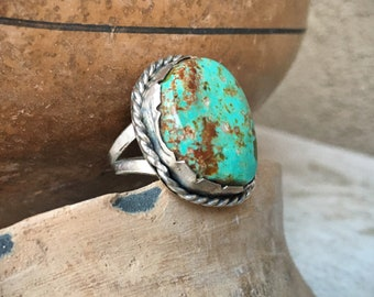 Green Matrixed Turquoise Ring for Women Size 5.5, Native American Indian Jewelry Navajo, Western Southwestern Fashion, Gift for Cowgirl