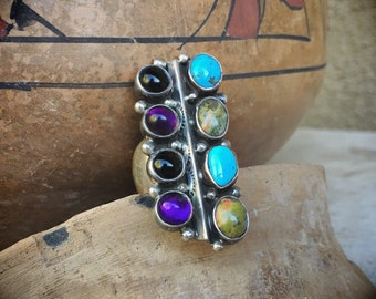 "1-1/2"" Long Amethyst Turquoise Ring for Women Size 8, Native America Indian Jewelry"