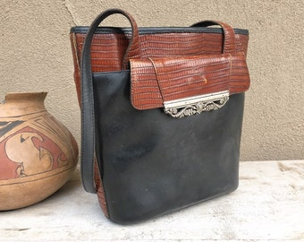 Vintage Two Tone Black and Brown Leather Purse by Brighton, Cowgirl Couture Shoulder Bag for Women