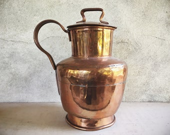 Large Vintage Copper Lidded Pitcher or Storage Jug Forged with Dovetail Joints, French Country Decor