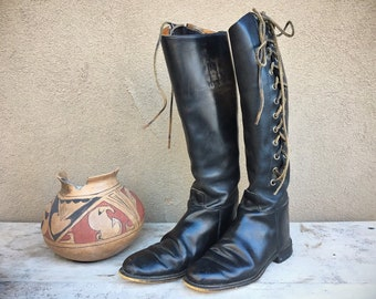 Vintage English Riding Boots Marlborough Women's US Size 7.5 to 8 Black Leather Lace-up Sides