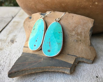 Slab Turquoise Earrings for Women, Native American Indian Jewelry Santo Domingo Pueblo