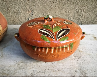 Vintage Tlaquepaque Old Mexican Pottery Small Lidded Pot, Redware Covered Casserole Dish