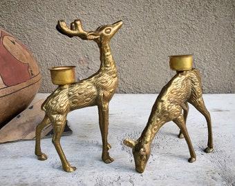 Vintage Brass Deer Candle Holders, Christmas Deer Buck Doe Family, Bookshelf Library Decor