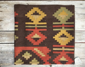 "Vintage Turkish Kilim Pillow Cover Brown Golden Yellow Red Decor 24"" x 24, Accent Pillow"