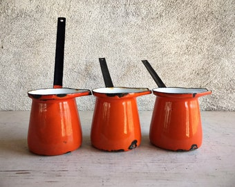 Set of Three Orange Yugoslavia Enamelware Melting Saucepots, Butter Warmer, Emo Celjic Turkish Coffee Pot