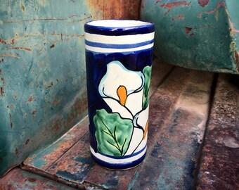 Narrow Talavera Pottery Vase with Irises, Floral Southwest Mexican Blue White Kitchen Decor
