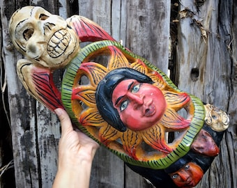 Carved and Painted Wooden Ethnographic Mask Wall Hanging from Guerrero Mexico, Calavera Day of Dead
