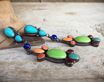 Navajo Earrings Multi Stone Multi Color Turquoise Dangles, Native American Indian Jewelry for Women, Green Gaspeite Turquoise Spiny Oyster
