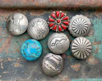Eight Mismatched Silver Button Covers (One Zuni Coral), Native American Indian Jewelry for Blouse