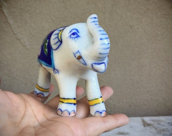 Ceramic Elephant Figurine Blue and White Chinoiserie Decor, Trunk Up Lucky Elephant Gift