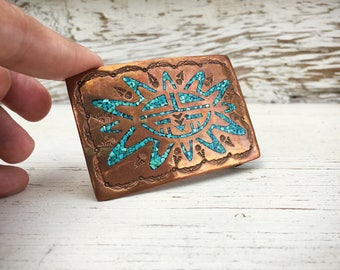 Vintage Turquoise Copper Belt Buckle Gift for Men or Women, Southwestern Fashion, Sun Face
