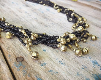 Multi Strand Metal Bells and Black Glass Bead Necklace for Women, Ethnic Necklace, Tribal Jewelry