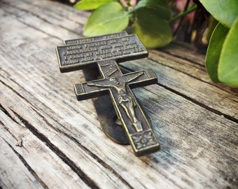 Vintage Motorist Prayer Catholic Crucifix Visor Clip Steady Hand Watchful Eye, Travel Prayer for Car