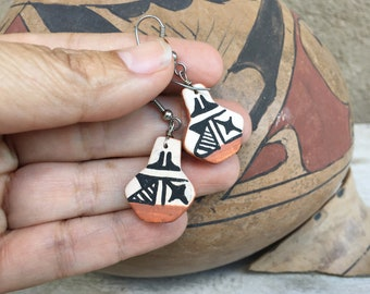 Two Dimensional Clay Miniature Acoma Pottery Earrings, Southwestern Jewelry Native America Style