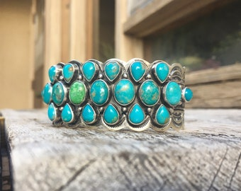 76 gm Signed Navajo Sterling Silver Turquoise Cuff Bracelet for Women, Native American Indian Jewelry, 25th Anniversary Gift for Wife Her