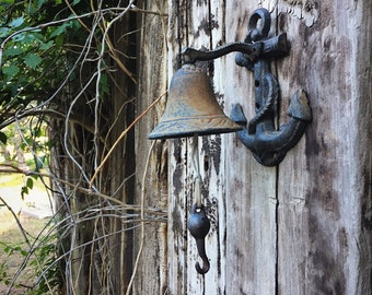 Vintage Cast Iron Mounted Bell with Anchor, Garden Bell, Old Farm Bell, Front Porch Decor, Rustic Home Decor Beach House Ocean Theme Sailor