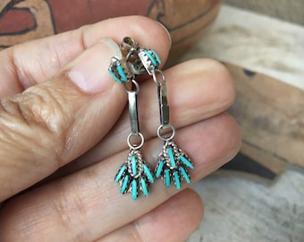 Small Zuni Needlepoint Turquoise Silver Dangle Earrings, Native America Indian Dainty Jewelry