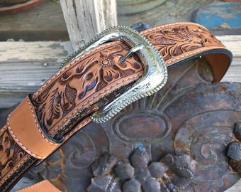 Size 34 Hand Tooled Leather Western Belt for Women with Removable Engraved Silver Tone Buckle