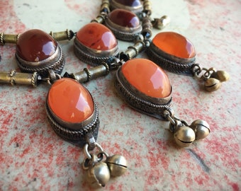 Vintage Tribal Necklace Bib Choker with Carnelian Pendants Brass Beads and Bells, Nomadic Orange Jewelry