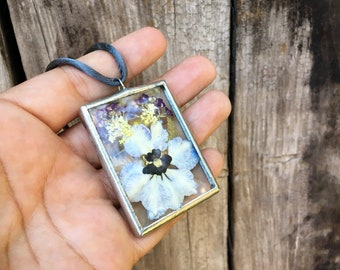 Vintage Pendant of Dried Flowers Between Thick Glass Soldered Silver Frame, Flower Gifts