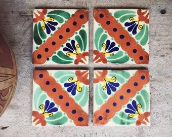 Four Vintage Mexican Ceramic Tiles, Rustic Home Decor, Green Decor, Ceramics and Pottery, Talavera Tile, Bohemian Decor