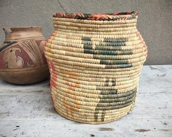 Vintage Coiled Basket Vase Beige Pink Colors Butterfuly Design, Southwestern Woven Rattan Weaving