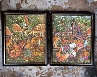 Vintage Framed Balinese Painting On Paper, Indonesian Mythology Folk Art, Eclectic Bohemian Home