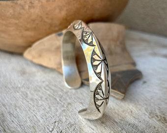 45g Navajo Made Sterling Silver Stacking Bracelet for Women, Native American