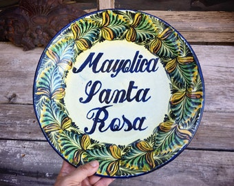 "Vintage 12"" Mexican Pottery Decorative Plate with Santa Rosa Guanajuato Mexico Plates Wall Art"
