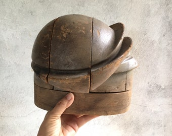 Antique Wooden Hat Form Millinery Puzzle Block, Industrial Steampunk Decor, Antique Shop Display