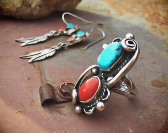 Vintage Coral Turquoise Ring Size 5.25 and Earrings for Women, Native American Indian Navajo Ring