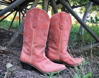Vintage Distressed Pink Cowboy Boots for Women Size 7 M Western Fashion, Cowgirl Boots