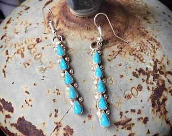"1-1/2"" Long Earrings Turquoise Dangles, Native American Indian Style Jewelry Bohemian"