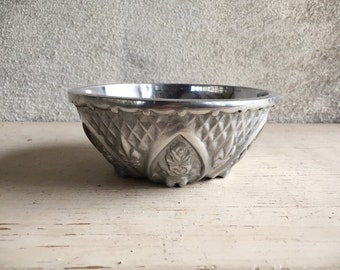 Small Mexican Pewter Bowl with Floral and Fleur de Lis Design, Southwestern Kitchen Decor, Candy Dish, Silver Home Decor Rustic Hacienda