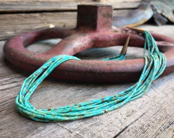 "Ten Strand Turquoise Heishi Necklace 18"" by Santo Domingo Wilbert Calabaza, Native American Jewelry"