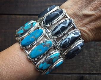 Navajo Seven Stone Cuff Bracelet for Women, Native American Indian Jewelry, Stacking Bracelets