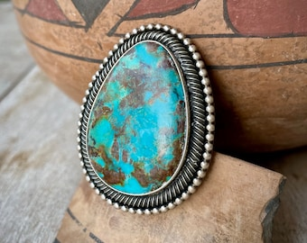 Huge Navajo Ernest Roy Begay Heavy Sterling Silver Turquoise Ring Adjustable Size, Native American