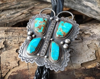 Silver Turquoise Butterfly Bolo Tie for Men or Women, Unisex Western Tie Shoestring Bola