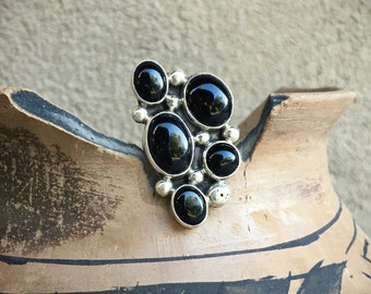 Vintage Black Onyx Ring for Women Size 5.75 Native American Indian Jewelry Cluster Ring