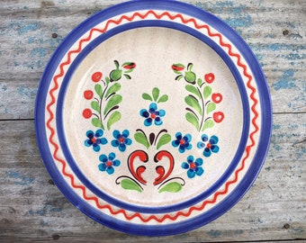 Vintage German Handpainted Zell am Harmersbach Pottery Plate Wall Hanging Blue Rim